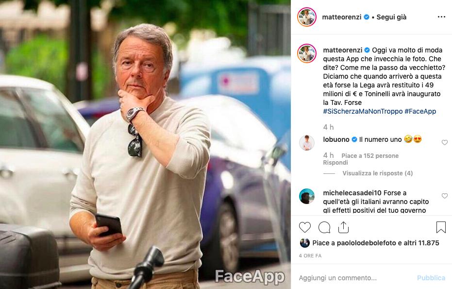 Matteo Renzi e il post di Instagram