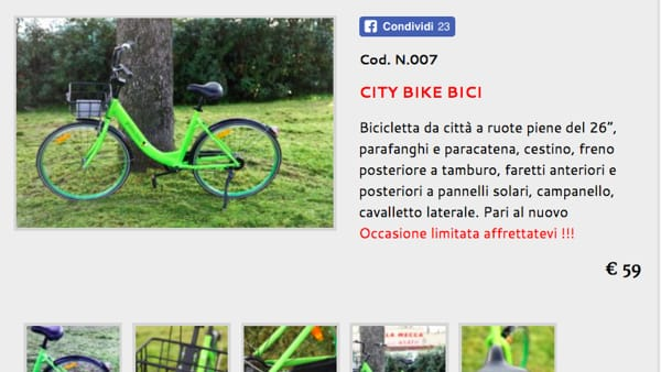 Bike sharing: bicicletta di Gobee finisce in vendita su internet