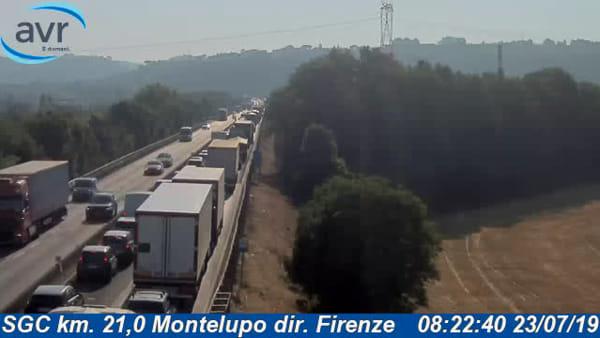 Superstrada Fi-Pi-Li senza pace: 3 chilometri di coda