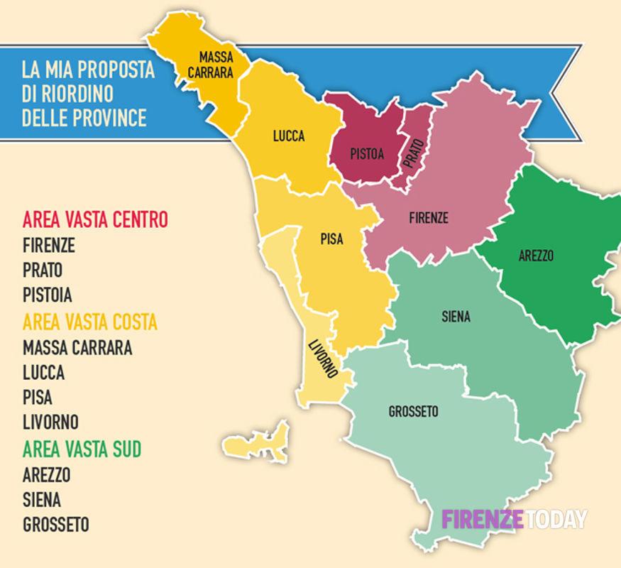 Cartina Regione Toscana Con Province.Il Riordino Province Toscane Pensato Dal Presidente Rossi