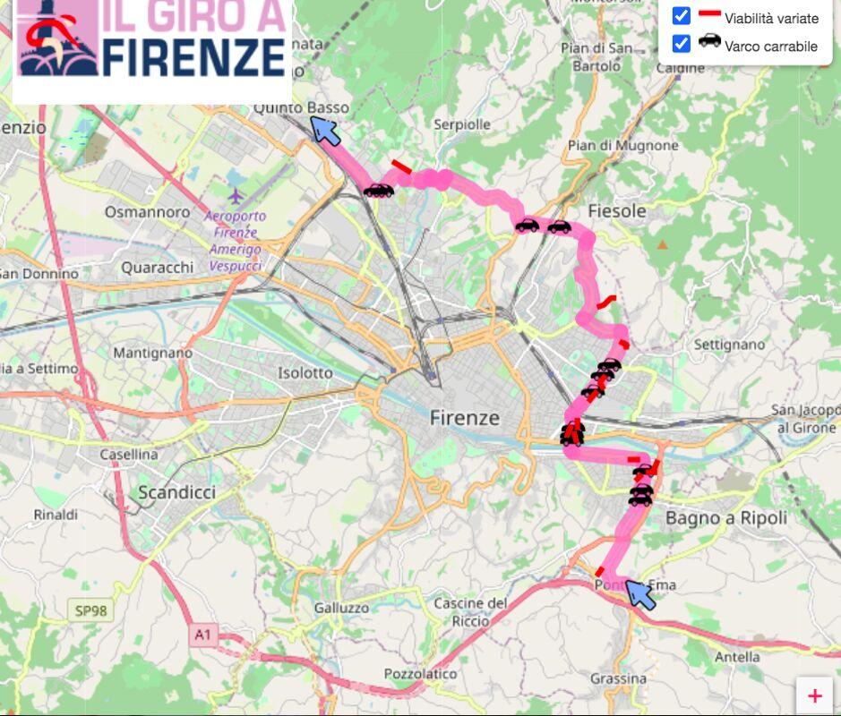 Cartina Italia Javascript.Giro D Italia A Firenze Autobus Deviati Strade Chiuse E I Nuovi Percorsi Per Careggi E Centri Vaccini