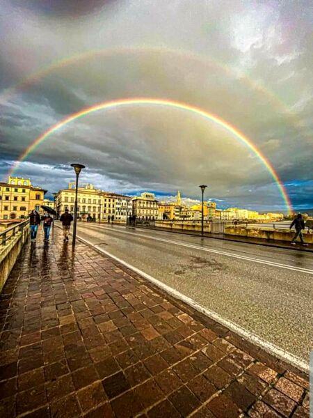 Il doppio arcobaleno a Firenze, che magia